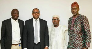 L–R: External Relations Manager, Shell Nigeria Gas (SNG), Tunde Olaleke; SNG's Managing Director, Ed Ubong; President, Manufacturers Association of Nigeria (MAN); Mansur Ahmed; and MAN's Director General, Segun Ajayi-Kadir, during the visit…
