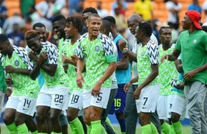 ...members of the Nigerian Super Eagles after the winning goal...on Saturday...