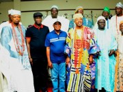 The Oluwo of Iwoland, Oba Abdulrasheed Adewale Akanbi (4th right), Governor State of Osun, Mr. Adegboyega Oyetola (4th left); his deputy, Mr. Benedict Alabi (3rd left); the Olupo of Oluponna, Oba Emmanuel Oyeleso (left); the Olu of Ileogbo, Oba Habeeb Adetoyese (2nd left); the Agbowu of Ogbaagbaa, Oba Sikirulahi Akinropo (3rd right); the Onifin of Ikonifin, Oba Dr. Solomon Oyewo Ojo (2nd right); the Ota of Ilota, Oba Odetunji Ipadeola Akano and others, during the visit…