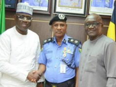 L-R: Managing Director, Shell Nigeria Exploration and Production Company (SNEPCo), Bayo Ojulari; Commissioner of Police, Lagos State Command, Zubairu Muazu; and SNEPCo's Security Operations Manager, Olasupo Olageshin, during the visit…