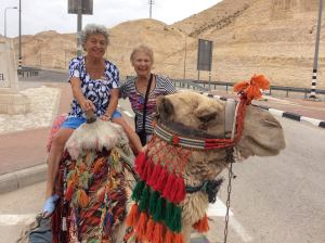 Terry atop a camel on vacation in Israel