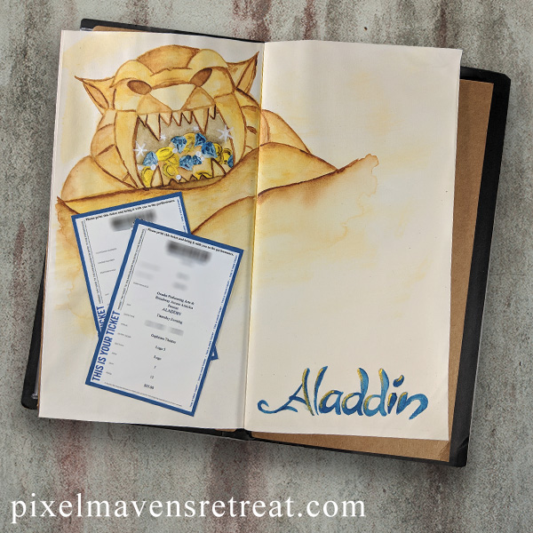For the Connie Can Crop This Magical Moment Blog Hop (January 2019) Featuring: Cozy Cat Designs Aladdin coloring pages, Prima Tropicals watercolors. #nicolewatt #pmretreat #traveljournal #aladdin #disney