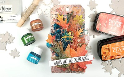 UnbeLEAFable Altered Mixed Media Tag for Fall