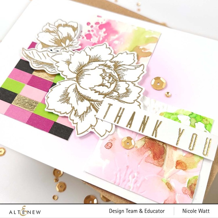 Handmade greeting card featuring Altenew's Peony Bouquet stamp set