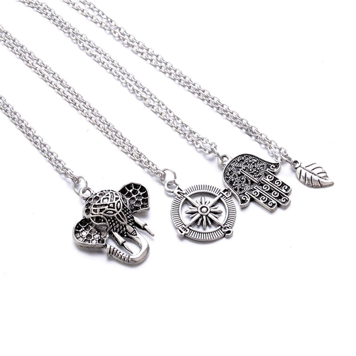 Bohemian Leaf Compass Elephant Multi Layer Necklace Geoju