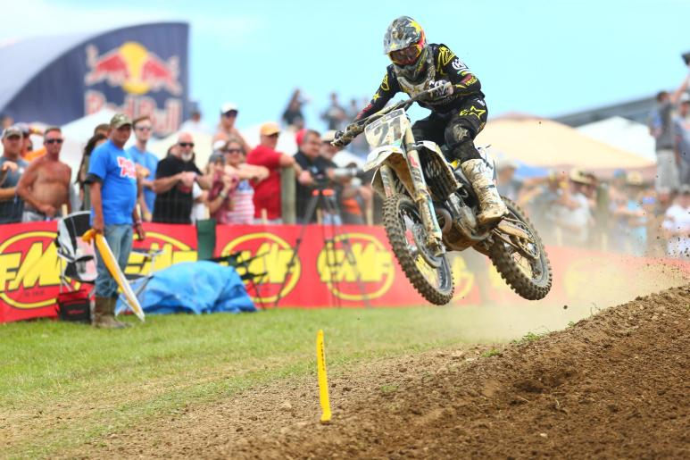 Anderson was in the mix both motos and finished third overall (2-5).