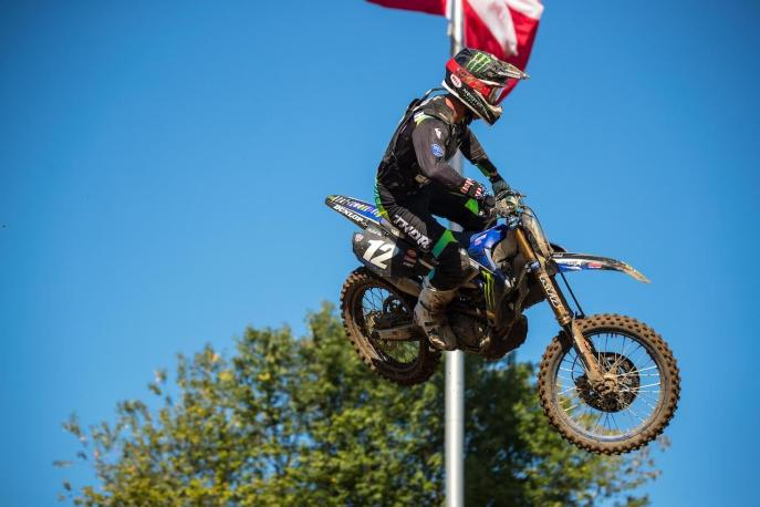 A first moto win helped McElrath land on the podium in third overall (1-10).