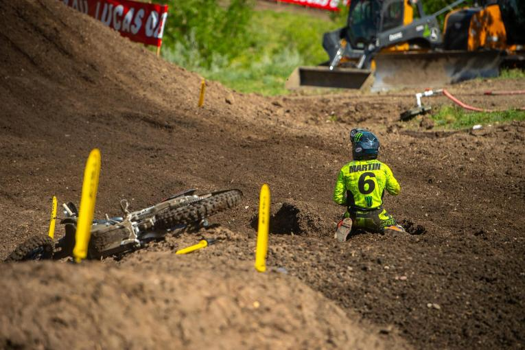 Jeremy Martin's crash in the second moto resulted in a DNF and eighth overall.