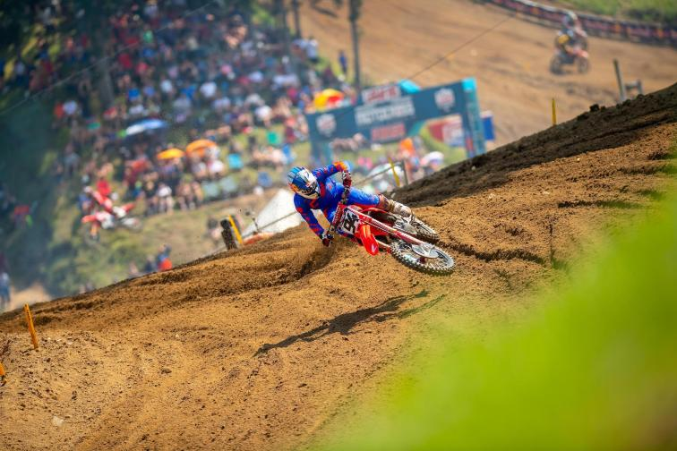 Ken Roczen rebounded from a DNF in Moto 1 to take the Moto 2 victory and salvage a challenging afternoon.