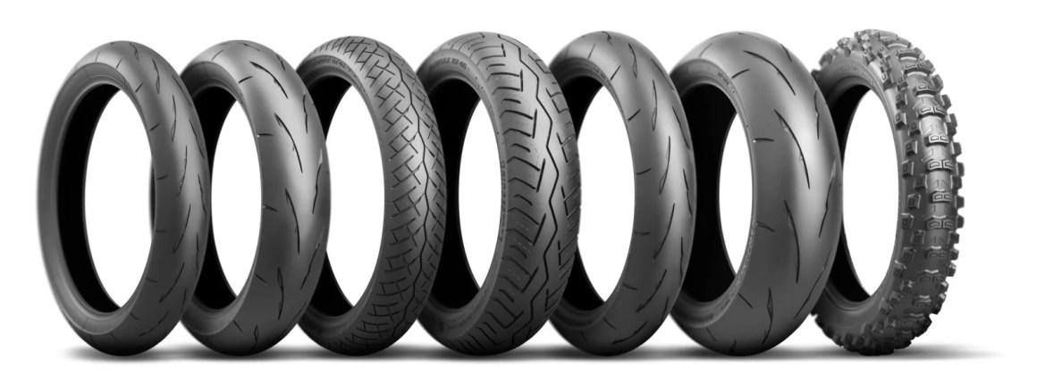 Battlax Classic Racing CR11 (přední a zadní pneumatika), Battlax BT46 (přední a zadní pneumatika), Battlax Racing Street RS11 (přední a zadní pneumatika), Battlecross E50 Extreme