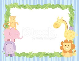 Cute Safari Animals Card With Leaves Border Stock Vectors