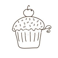 Candy Sprinkled Covered Cupcake With Cherry on Top Outline Clipart Images