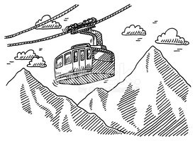Overhead Cable Car Mountains Drawing stock vectors
