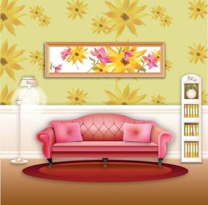 living clipart sofa vector clip doll paper furniture stylish printable sitting modern houses scenes backgrounds dolls cushions cartoon insurance dollhouse