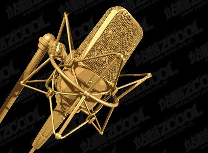 free golden microphone clipart