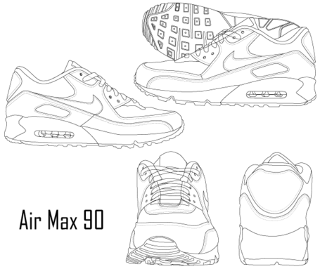 Free Nike Air Max 90 Sneaker Boot Clipart and Vector