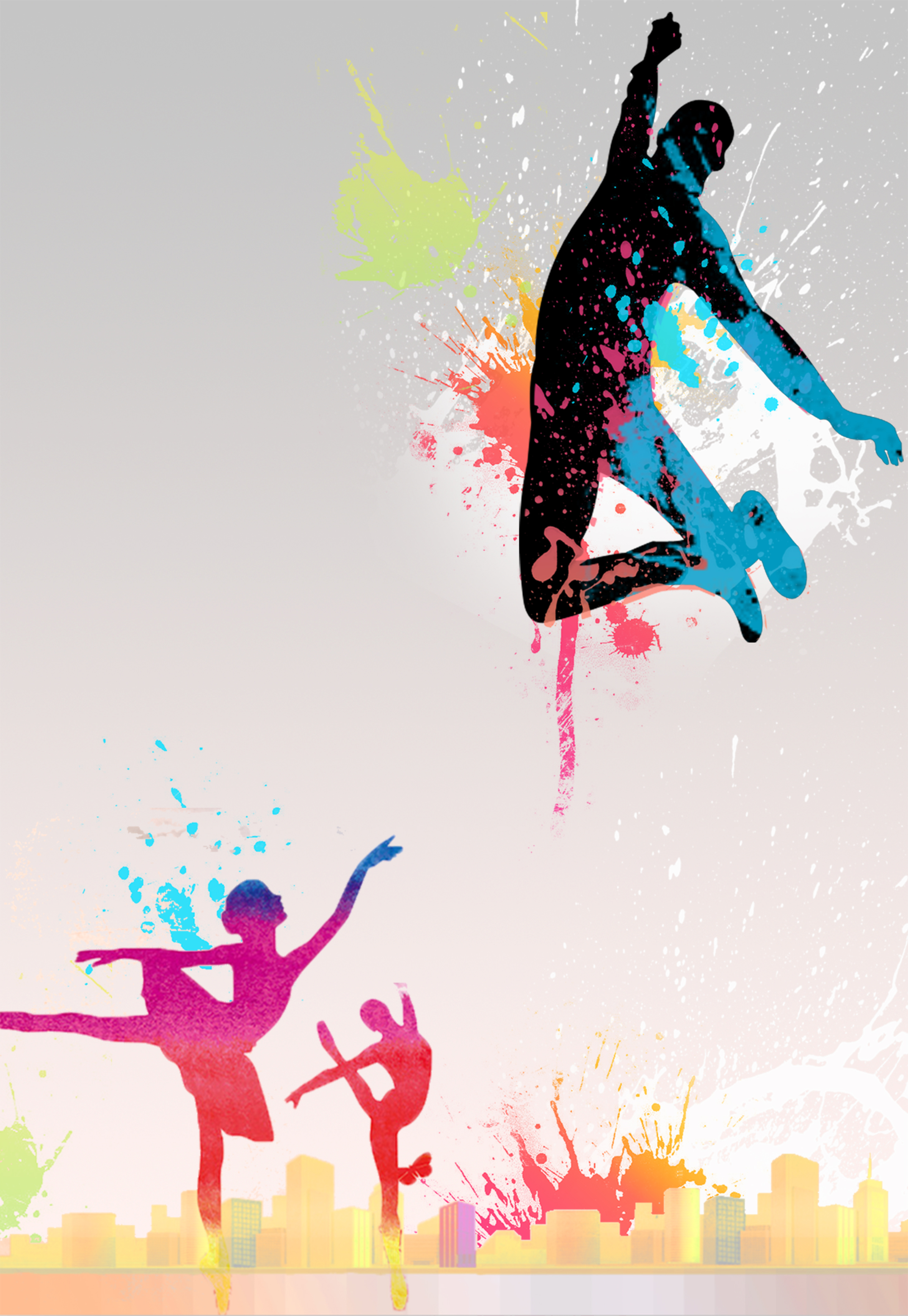 Fall Leaves Dancing Wallpaper Color Ink Silhouette Dance Training Recruitment Poster