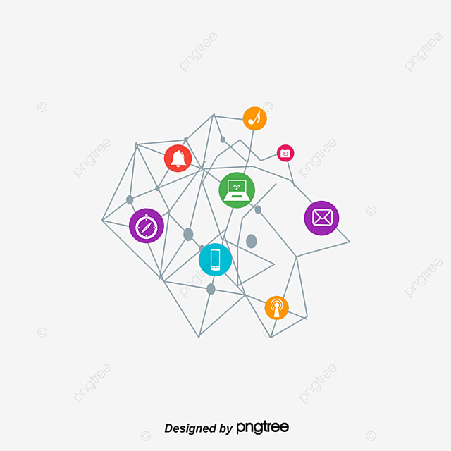 Internet Icon, Connection, Molecular, Point PNG and Vector