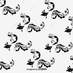 Black Flower Pattern Black Vector Flower Vector Pattern Vector PNG Transparent Clipart Image and PSD File for Free Download