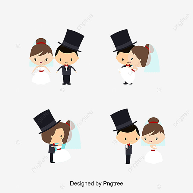La Boda De De Dibujos Animados Vector Material Cartoon