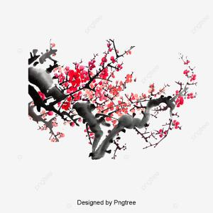 Ink Cherry Blossoms, Decoration, Pattern, Branches PNG and PSD File for Free Download