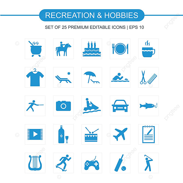 Recreations And Hobbies Icons Set Icon Hobby Hobbies PNG and Vector with Transparent