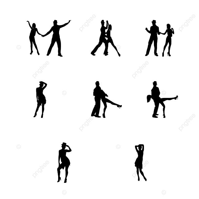 Dancing People Silhouettes, Fitness, Background, People