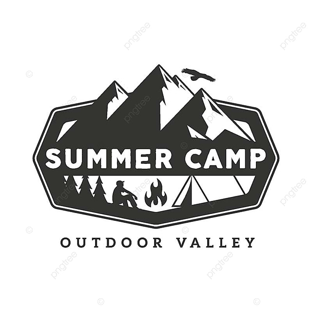 Vintage Wildlife Summer Camp Badge Illustration, Mountain
