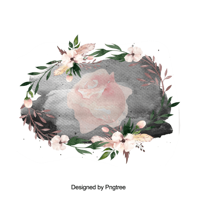 Hand Painted Flower Splash And Ink Frame Flower Wreath Red PNG Transparent Clipart Image And