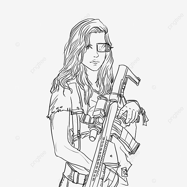 Europe And America Future Female Warrior Modern, Sketch