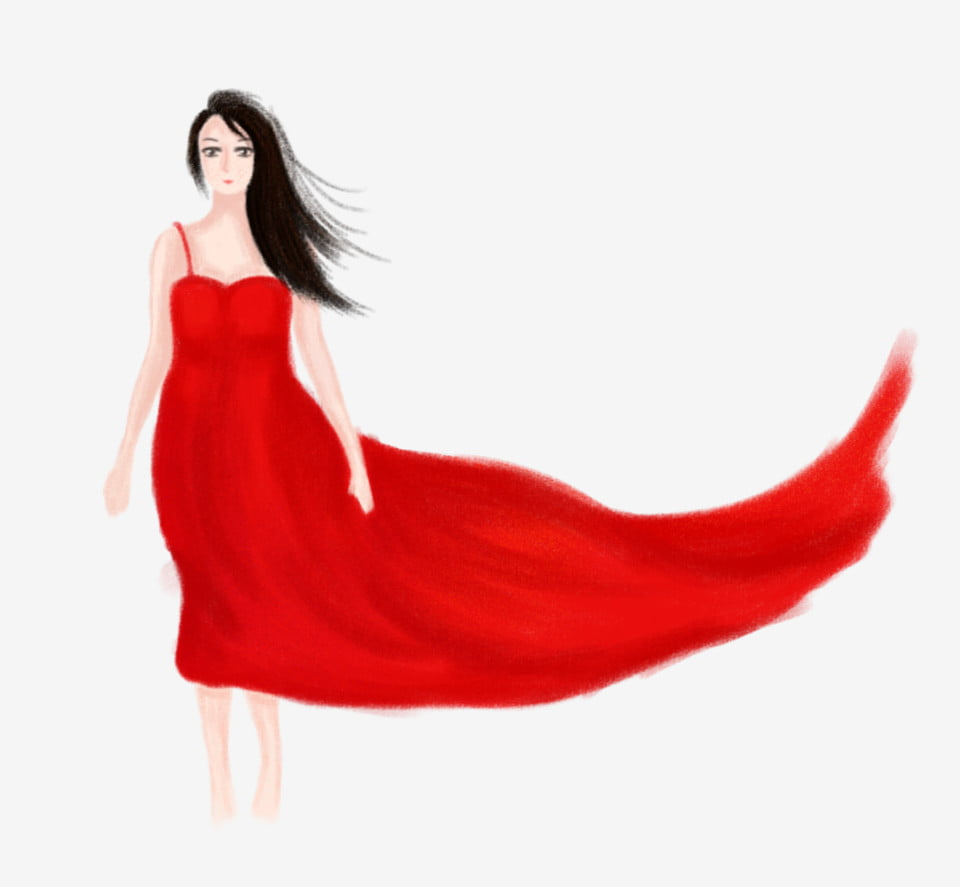 Cartoon Girl In Red Dress Red Skirt Cartoon Hand Painted. Hand Drawn Girl. Sexy. Lovely PNG Transparent Clipart Image and PSD File for Free Download