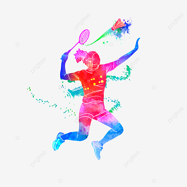 Girl With Basketball Wallpaper Creative And Colorful Silhouettes Of Badminton Players