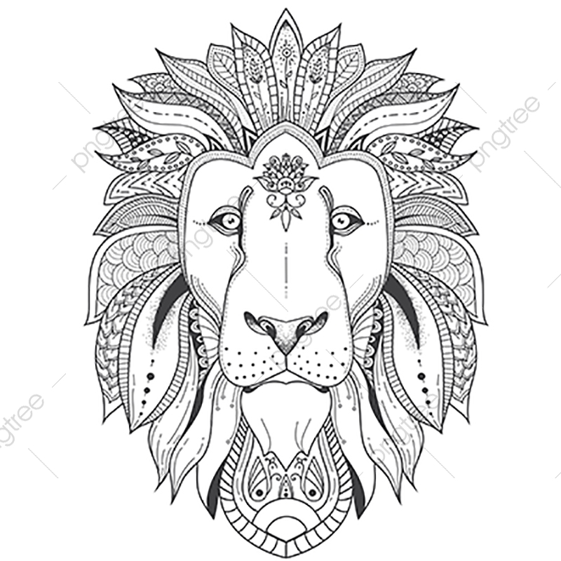 Poster With Patterned Lion, Coloring, Lion, Mandala PNG