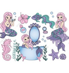 purple mermaid travel clipart color vector illustration set for scrapbooking babybook and digital print on card and photo children s albums png  [ 1200 x 1200 Pixel ]