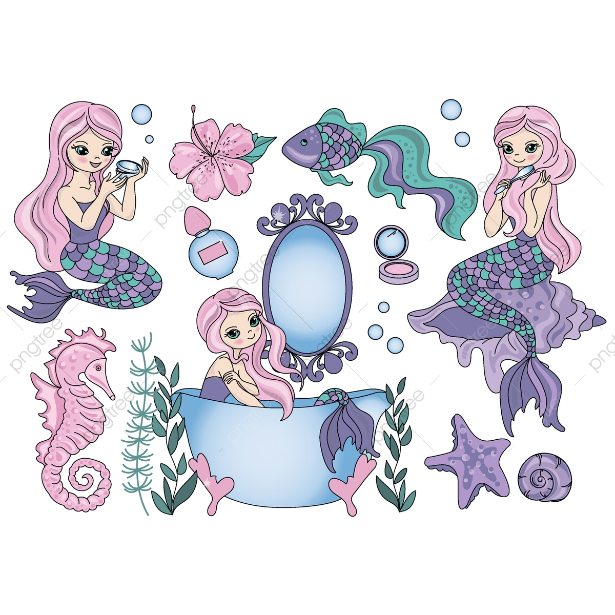 hight resolution of purple mermaid travel clipart color vector illustration set for scrapbooking babybook and digital print on card and photo children s albums png