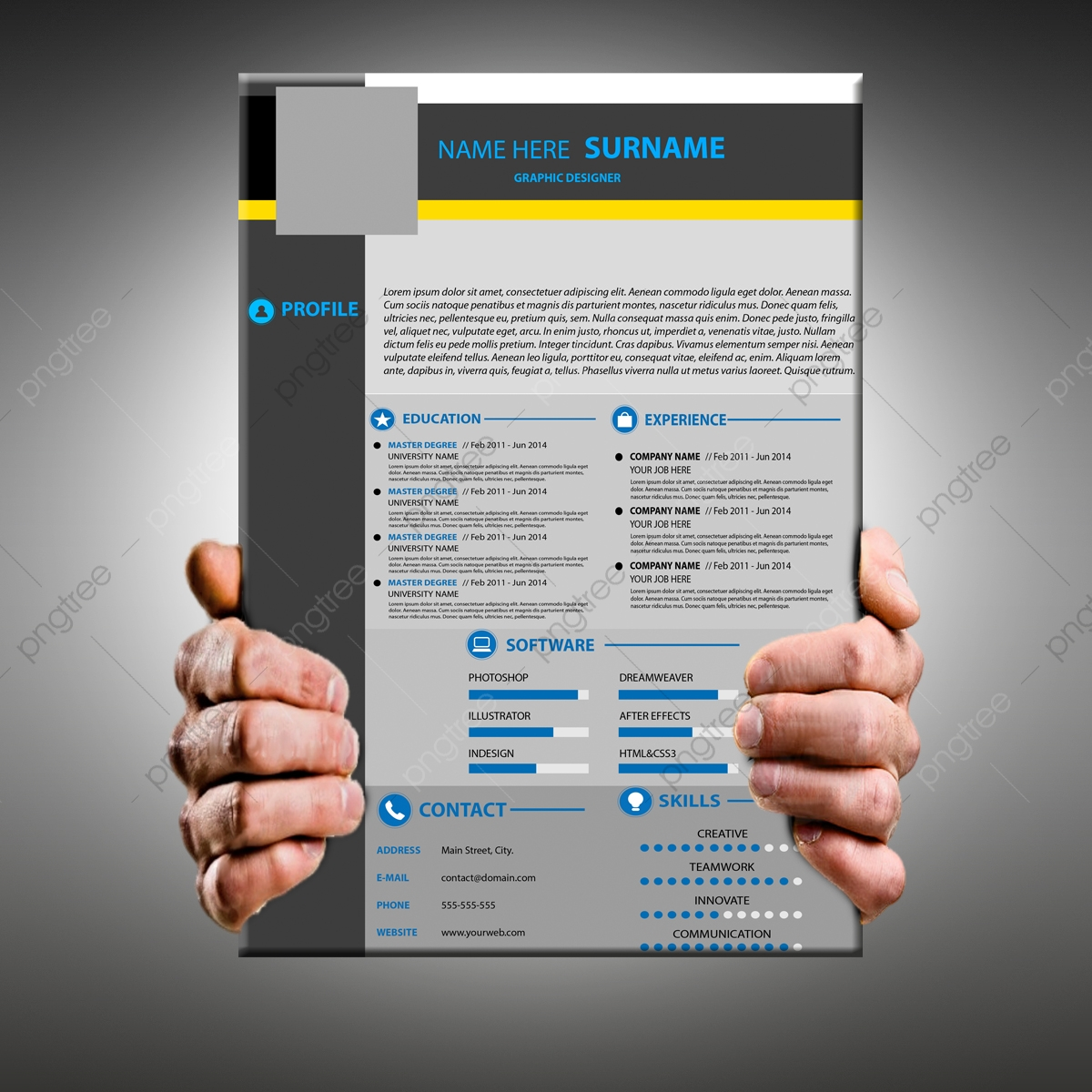 Modern Resume Template Download Attractive Modern Resume Cv Template Resume Cv Templates Png