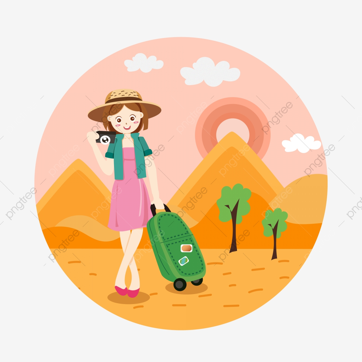 Cartoon Cute Girl Vacation Tourist Character Outdoor Beach Sunset Element Cartoon Lovely Tourism Png And Vector With Transparent Background For Free Download