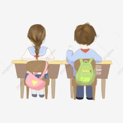 Class Classroom Primary School Student Desk School Bag Deskmate Boy Girl PNG Transparent Clipart Image and PSD File for Free Download