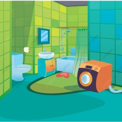 Clean Kids Bathroom Cartoon Style Background For Children Vector Illustration Holiday Isolated Flat PNG and Vector with Transparent Background for Free Download