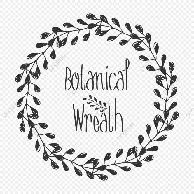 Creative Hand Drawn Botanical Leaf Elements Wreath For