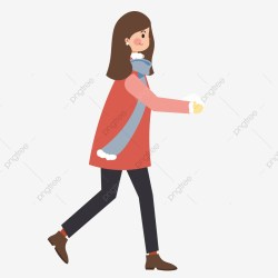 Hand Drawn Girl Walking Elements Walk Cartoon Girl PNG Transparent Clipart Image and PSD File for Free Download