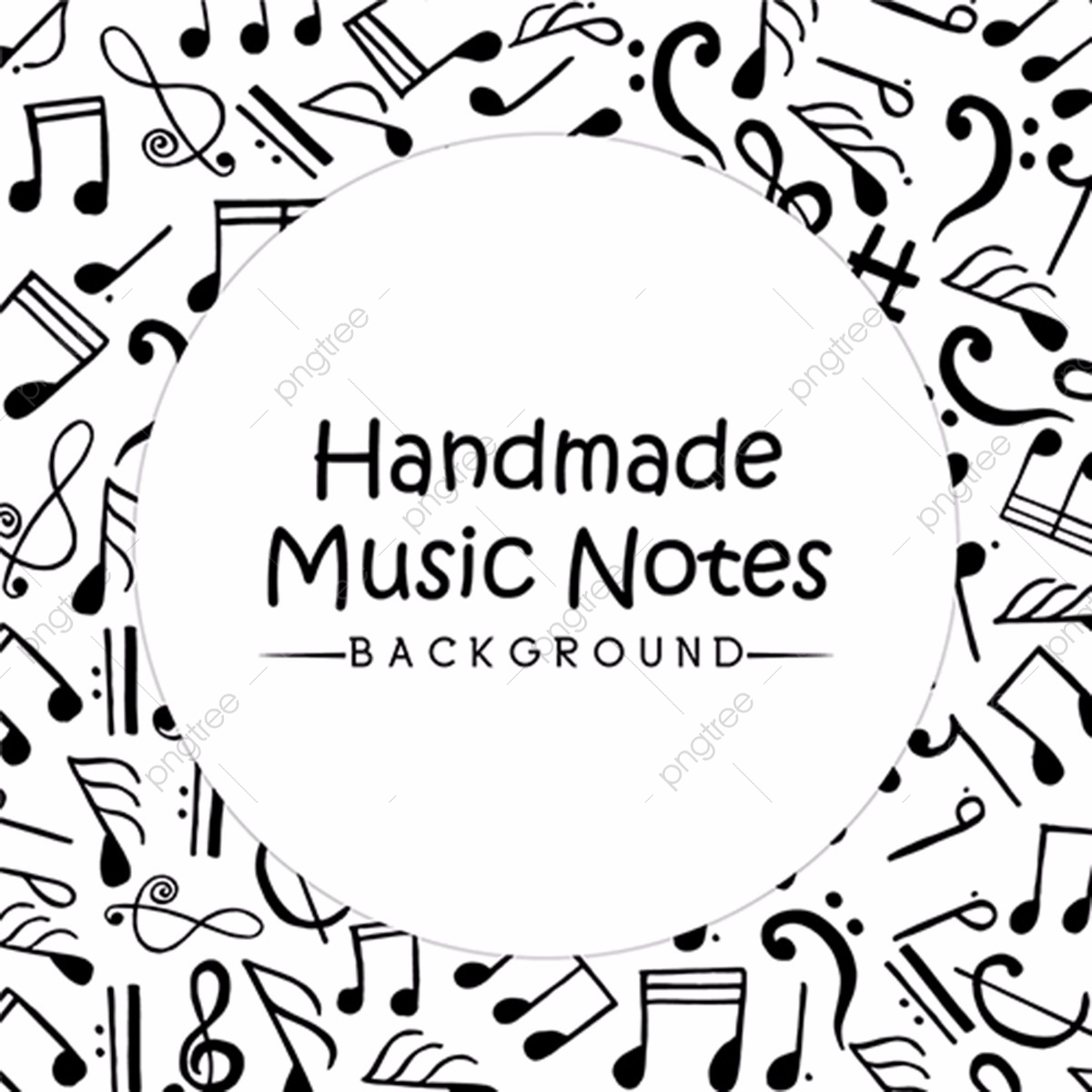 Hand Drawn Music Notes Background, Hand Vector, Music