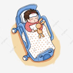 Hand Painted Sick Patient Child Bed Material Sick Clipart Sick Child Sick PNG Transparent Clipart Image and PSD File for Free Download