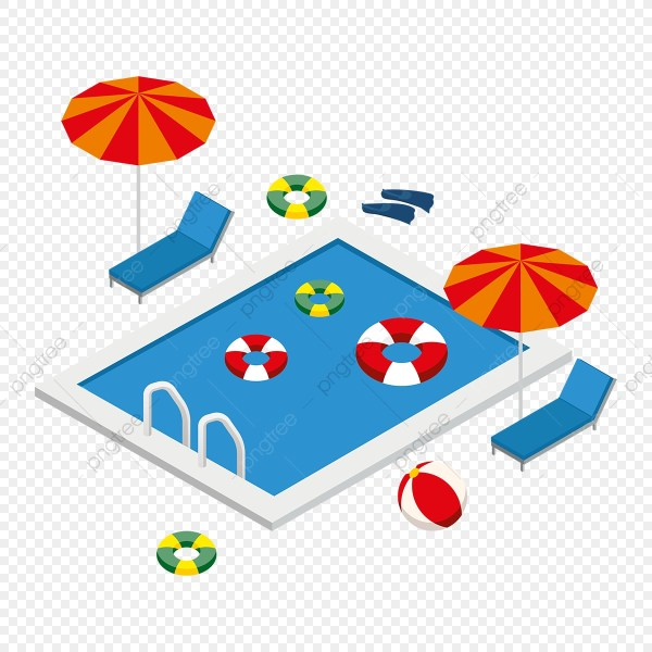 Isometric Swimming Pool With Summer Elements 3d