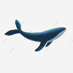 A Blue Swimming Whale Cartoon Element One Blue Whale PNG Transparent Clipart Image and PSD File for Free Download