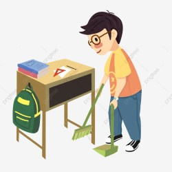 School Season Student Clean Classroom Desk School Bag Carry Out Hygiene PNG Transparent Clipart Image and PSD File for Free Download