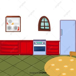 Cartoon Kitchen Kitchen Cabinets Refrigerator Cupboard PNG Transparent Clipart Image and PSD File for Free Download