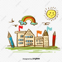 Cartoon School Building School Clipart Building Clipart Sun PNG Transparent Clipart Image and PSD File for Free Download
