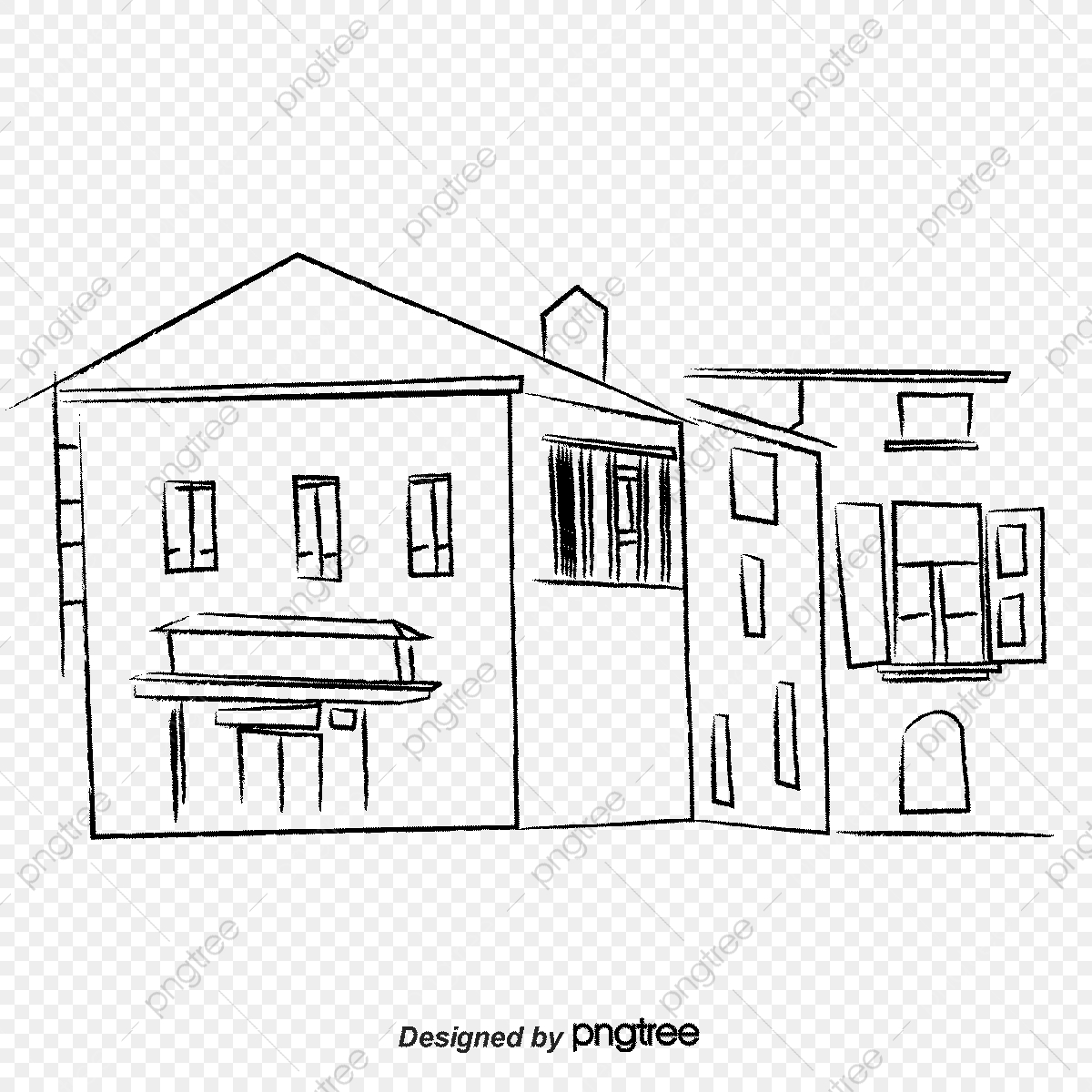 Complex Sketch Old House Street, Sketch Vector, House