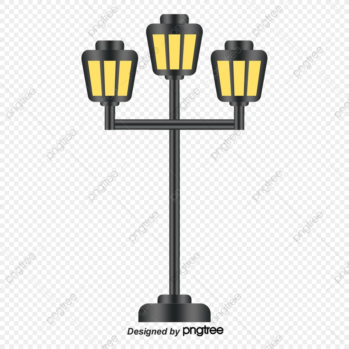 Vector Hand Painted European Style Street Lamps, Vector